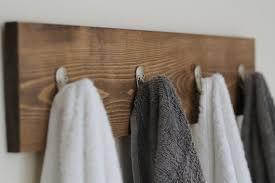 Rustic Wooden Towel Rack Hooks Bathroom Decor