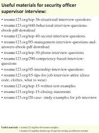 Security Supervisor Resume Officer Example Skills For