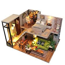 Miniature Dollhouse Kit Decorations With Lights And Furnitures DIY House Craft Kits House Model Best Birthdays Gifts For Boys And Girls Romantic