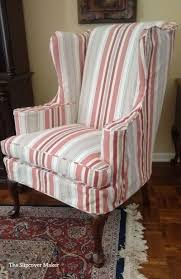 Awning Stripe Slipcovers Update Traditional Wing Backs ...