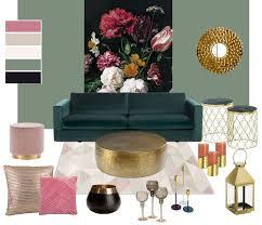 wohnzimmer und weihnachtsdeko in gold und rosa easy