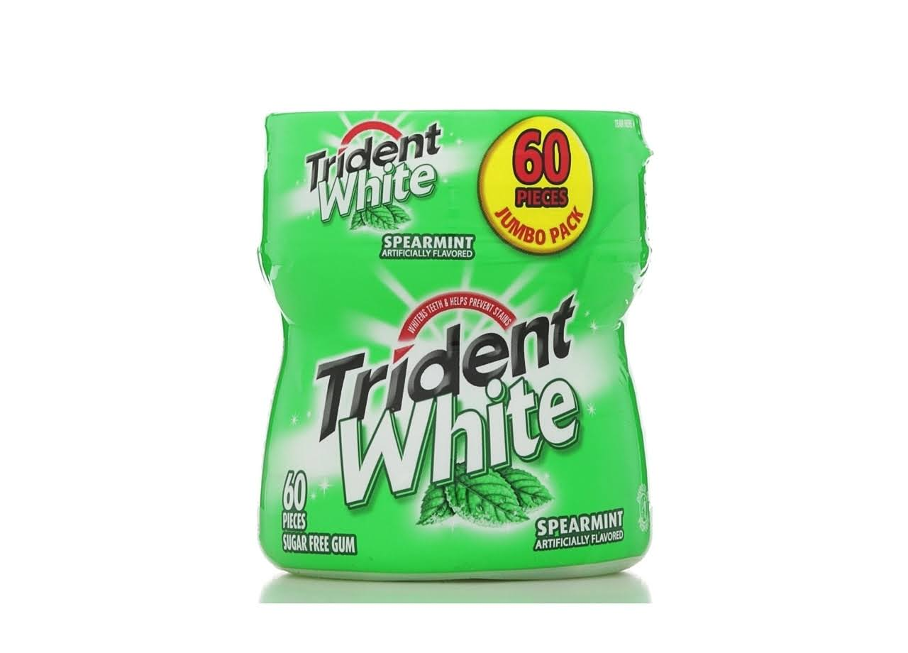 Trident White Sugar Free Gum - Spearmint, 60ct