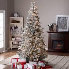 75ft Pre Lit Lightly Flocked Whiteland Pine W Laser Glitter Christmas Tree By