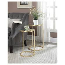 gold coast round nesting mirror end tables convenience concepts