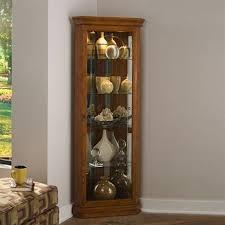 plush design lighted corner curio cabinet excellent decoration 12