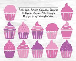 Pink Cupcake Clipart Digital Cupcakes Clip Art PNG Girls Birthday Dessert Graphics Pink Purple Printable Birthday Party Scrapbooking Clipart