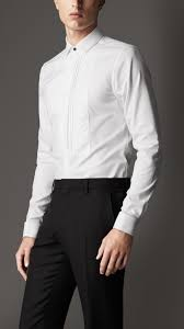 burberry slim fit cotton dress shirt in white for men lyst
