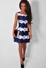orleans navy u0026 white floral print skater dress pink boutique