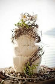 White Rustic Autumn Wedding Cake