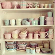 Pastel Kitchen Cabinet Crockery And Tableware A Retro