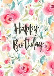 Happy Birthday Background With Watercolor Flowers Flower Birthday Card Floral Birthday Card Background Angie Makes Stock Shop