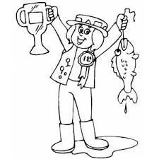 Fisherman With First Prize Coloring Sheet