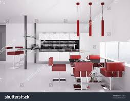 Modern White Kitchen Interior 3d Rendering Stockfoto Und Interior Modern White Kitchen Chairs Stock Illustration