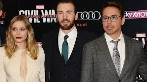 Elizabeth Olsen Chris Evans At The European Premiere Of Captain America Civil War