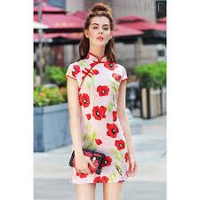 premium floral printed cheongsam
