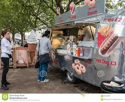 100 Snack Truck Customers Wait In Line At London South Bank Editorial