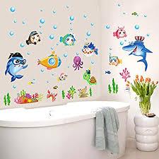 mznm aquarium unterwasser welt fisch badspiegel badezimmer deko wasserdicht kinder wand aufkleber