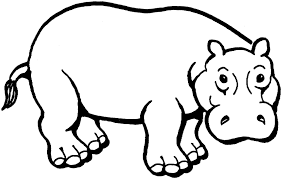 African Animal Coloring Pages Hippopotamus
