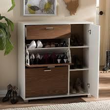 Baxton Simms Shoe Cabinet by Amazon Com Baxton Studio Chateau Storage Cabinet White Walnut