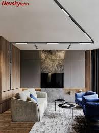 n1 moderne oberfläche montiert track lichter led len magnetische schiene decke system wohnzimmer länge beleuchtung spot schiene scheinwerfer
