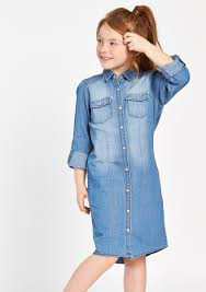 denim child dress with bleached effect lolaliza
