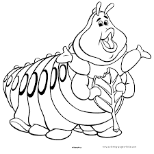 Heimlich The Caterpillar A Bugs Life Coloring Disney Pages Color Plate Sheet