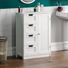 details zu badezimmer 4 schubladen schrank tür freistehend aufbewahrung hölzern weiß ablage