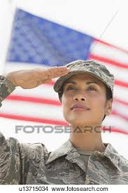 Stock Photo Of Female Army Soldier Saluting American Flag In