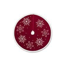 Hallmark Red With White Snowflakes Miniature Tree Skirt