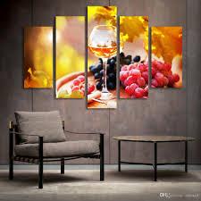 großhandel 5 panel malerei glas wein obst malerei leinwand kunstdrucke wandbilder für wohnzimmer küche esszimmer dekoration ungerahmt asenart