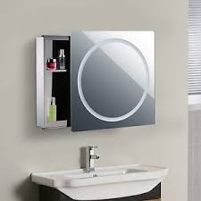 bathroom mirror cabinet with led light sliding door 2 compartments