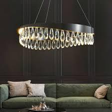 postmodernen k9 kristall luxus villa kronleuchter runde wohnzimmer decor led beleuchtung schwarz goldene schlafzimmer esszimmer hängen le