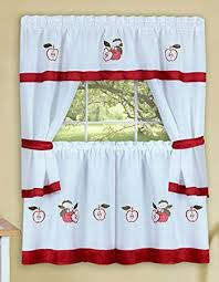 Red And White Curtains With Apple Print