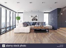 modernes design wohnzimmer eingerichtet 3d rendering