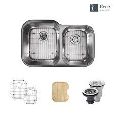 Home Depot Kitchen Sinks Stainless Steel Undermount by Undermount Stainless Steel 32 In Left Double Bowl Kitchen Sink R1