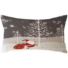 kissenhülle weihnachten deko 30x50 leinen kissenbezug weihnachtsmann schneemann kissenbezüge wohnzimmer kopfkissenbezug