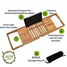 Bamboo Bathtub Caddy Tray by Bathroom Trays Ultimate Bamboo Bath Caddy Tray With Large Non Slip