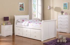 Twin Sleigh Captains Trundle Bed White