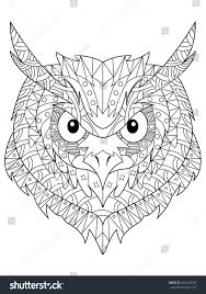 Owl Head Coloring Book For Adults Vector Illustration Anti Stress Adult