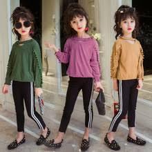 New Children Clothes Suit 2017 Autumn Winter Girls Set T Shirt Pants 2pcs