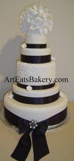 5 Tier Custom Unique Elegant Black And White Wedding Cake Design With Sugar Orchid Flower Topper