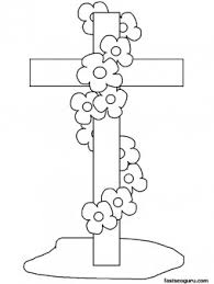Printable Happy Easter Cross Coloring Page For Kids