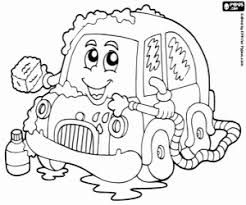 A Little Car In A Car Wash Coloring Page Printable Game