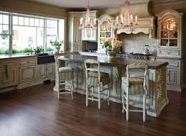 Mediterranean Style Kitchen French Country Off White Rustic Table Sets With Cabinets