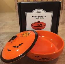 Halloween Candy Dishes by Rare See U0027s Candies Ceramic Orange Halloween Candy Dish Hard To