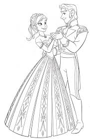 Printable Anna And Prince Hans Dancing Frozen Coloring Pages