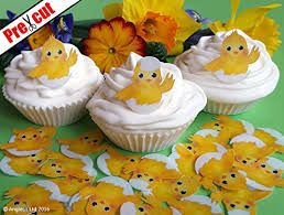 24 X CUTE EASTER CHICK EDIBLE WAFER RICE PAPER CUPCAKE CAKE TOPPERS BIRTHDAY PARTY