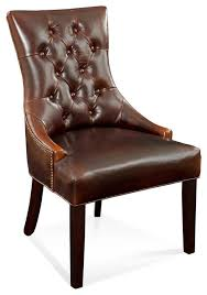 bassett mirror fortnum tufted nailhead parsons chair in leather