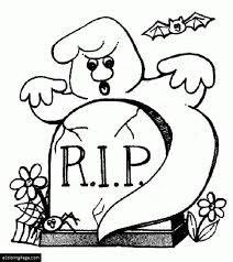 Happy Halloween Ghost Rip Coloring Page