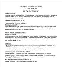 Assistant Pharmacist Job Description Free PDF Format Download